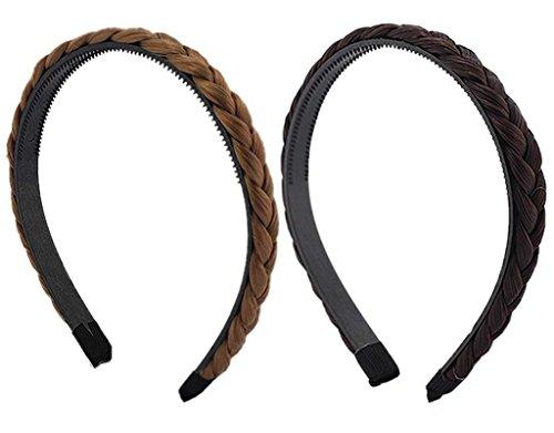 Elastisch Haarband Geflochten Braun Blond Stirnband Perücke Damen (Die Rockabilly Perücke In Schwarz)