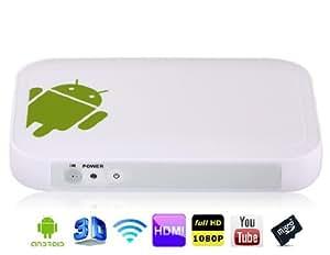 TV01 Android 4.0 Amlogic 8726-M3 1.0GHz 4GB Mini PC TV Android avec Wi-Fi, 2 x USB 2.0, RJ45 (Blanc)