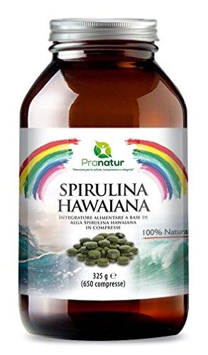 Spirulina Hawaiana 650 compresse da 500mg, Spirulina PacificaTM: con il 67% di proteine. Effetto tonico-ricostituente naturale (senza stimolanti), combatte fatica e stress. Favorisce la crescita e l'irrobustimento di capelli e unghie. L'Alga Spirulina più pregiata, cresce al sole delle Hawaii a ridosso dell'Oceano Pacifico.