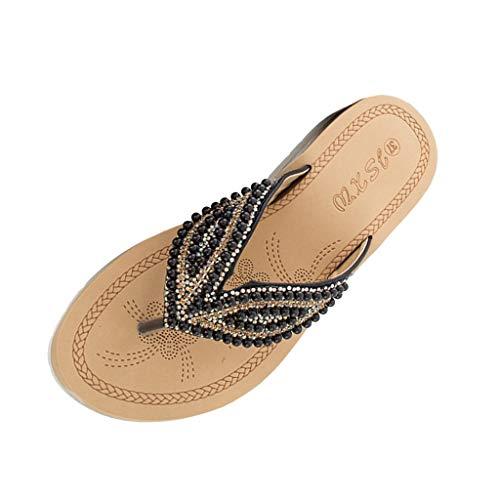 amen Sommer Perlen Sandalen Sommerschuhe Flache Sandaletten Toe Separator Flip-Flop Dicker Boden Hausschuhe Slipper ()