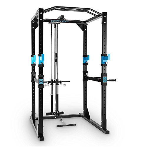 CAPITAL SPORTS Tremendour Power Rack • Power Cage • Kraftstation • mit Latzugturm • 2 x Safety Spotter: 20-stufig • 4 x J-Hooks • Multigripp-Klimmzugstange • aufsteckbare Dipstangen • Stahl-Kantrohrrahmen • schwarz