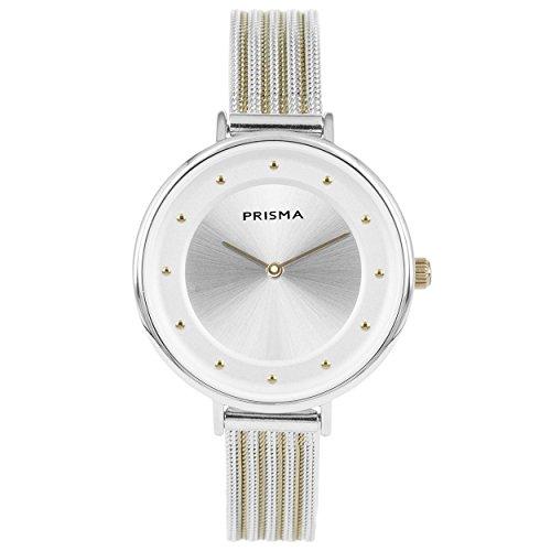 Prisma Damen Armbanduhr Pure Fance, Edelstahl silber und gold mit Analog Quarzwerk, 3 ATM und Saphir coated glas P.1877