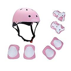 Idea Regalo - Set di protezione/sicurezza sportiva per bambini Kamugo, regolabile, con imbottiture protettive (casco, ginocchiera, gomitiera, polsiera), per pattini a rotella, bicicletta, BMX, skateboard, hoverboard e altri sport estremi, Pink