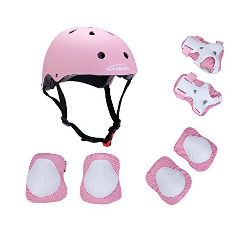 Kamugo Kids Youth Adjustable Sports Protective Gear Set Safety Pad Safeguard (Helmet Knee Elbow Wrist) Roller Bicycle BMX Bike Skateboard Hoverboard and Other Extreme Sports Activities (pink)