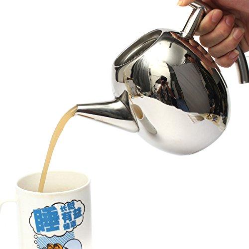 Aliciashouse 1500 ml in acciaio inox per tè e caffè Pot bollitore con filtro