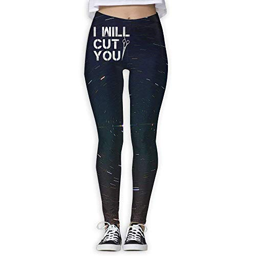 Deglogse Yogahosen, Trainingsgamaschen,I Will Cut You Funny Hair Dresser Women's Full-Length Yoga Workout Leggings Thin Capris -