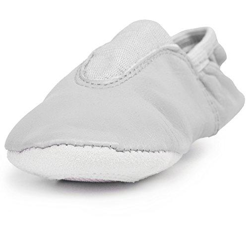 Gymnastikschuhe unisex für Mädchen und Jungen Echtleder in verschiedenen Größen und Farben Ballerinas Sportschuhe Weiß