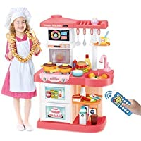 ELECTRECA 42 Piece Kitchen Play Set with Lights & Sound for Girls, Big Size Remote Control Kitchen Toy Set for Kids…
