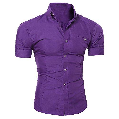 ESAILQ Männer Pullover Herren Lässiger Button O Neck Pullover Kurzarm T-Shirt Top Bluse(XX-Large,Lila)
