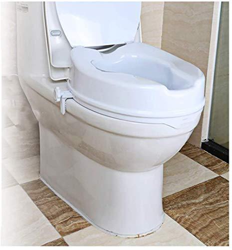 WuLien Toilettensitzerhöhung zum Anclipsen, mit Deckel/für Taillen- und Beinstörung/PE Umweltfreundliches Material Statische Belastung 150kg für ältere Menschen, Behinderte, eingeschränkter Mobilität