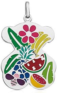 TOUS colgante de mujer en acero inoxidable con esmalte multicolor, tropical - Tamaño 3 cm