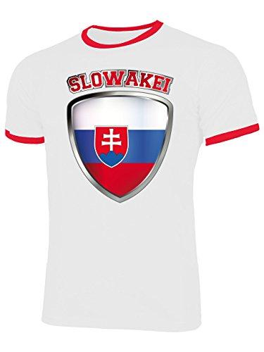 Slowakei Flagge T-shirt (Slowakei 4694 Fussball Fanshirt Fan Shirt Tshirt Fanartikel Artikel Männer Herren Ringer T-Shirts Weiss Rot S)