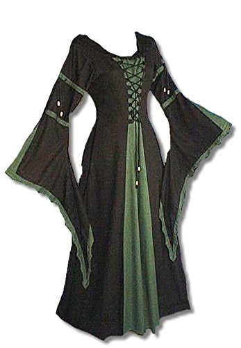 Inter Moden Mittelalter Zofenkleid - Damen Kelsi XL/schwarz / (Damen Kostüm Druide)