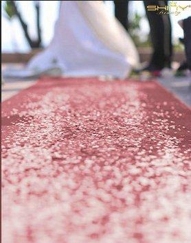 Gang runner-3ftx15ft Hochzeit Läufer, Sparkle, Glitzer Hochzeit Tischläufer für draußen, Glam Hochzeit 36inx15ft, Pink Gold, 36Inchx15FT