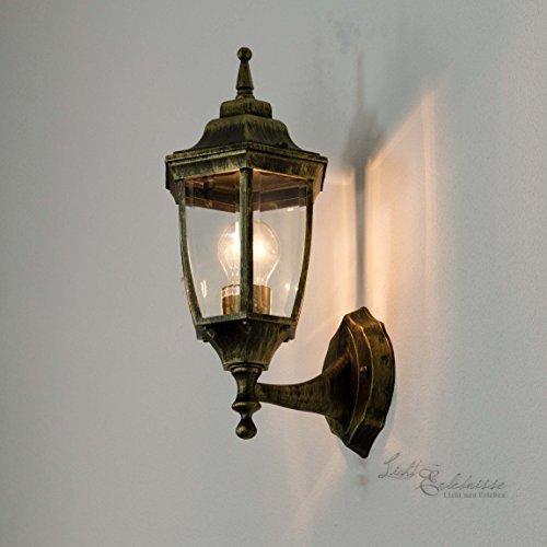 Rustikale Aussenwandlampe antik Lyon/E27 60W 230V IP44/Wand Außenleuchte Wandlampe für Garten...
