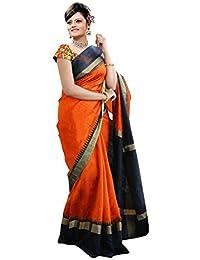 Premium Choice Women's Cotton Silk Saree With Blouse Piece (1103, Orange, Free Size)