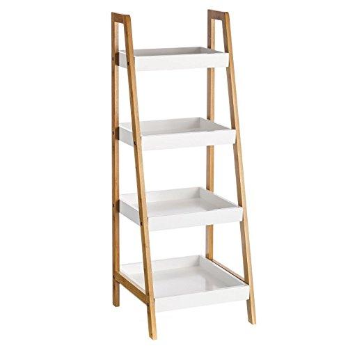 Estantería de 4 baldas nórdica blanca de bambú para cuarto de baño Basic - Lola Derek