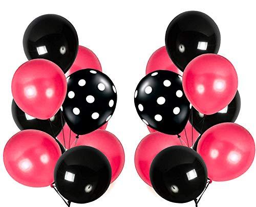 PuTwo Globos de Fiesta 90 piezas Globos de Látex Fucsia y Negros & Globos de Lunares Negros para la Fiesta de Minnie Mouse Fiesta de Cumpleaños de Niñas Fiesta de Sweet 16 - Negro & Fucsia