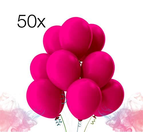 50x Luftballons Ø 35 cm pink Ballon Ballons für Luft und Helium pink / fuchsia für Dekoration Deko an Hochzeit, Geburtstag, Party, Partydekoration Hochzeitsdeko, Mädchen uvm. (pink)