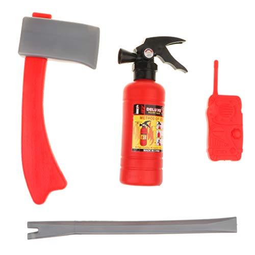 Fenteer Kinder Kostüme Spiel Zubehör für Polizei / Feuerwehrmann / Bauarbeiter Rollenspiel Halloween Kostüm - Feuerwehrmann Kostüm Set (Bauarbeiter Kostüm Zubehör)