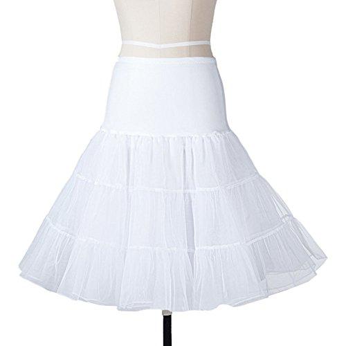 Petticoat Unterrock-LATH:PIN 50er Jahre Vintage Retro Tutu Damen Brautrunterkleid Unterskirt Reifrock Weiß