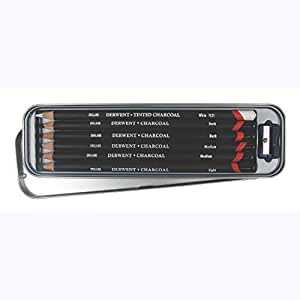 Derwent Charcoal Pencils Tin with Pencil Sharpener - Set of 6