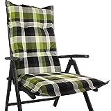 Hochlehner Auflage für Gartenstühle 120 x 50 x 8 cm - Premium Stuhlauflage mit Komfortschaumkern und Bezug aus 100% Baumwolle - Sitzauflage Made in EU / ÖkoTex100, Dessin:Karo Grün, Anzahl:6er Set