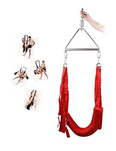 Super Love Portable Hanger Swing Indoor Swivel Swing Set mit Aufhängung für Paare Unterstützung bis zu 440 Lbs Red