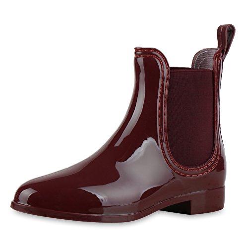 SCARPE VITA Damen Gummistiefel Lack Stiefeletten Chelsea Boots Regenschuhe 160511 Dunkelrot Dunkelrot 38