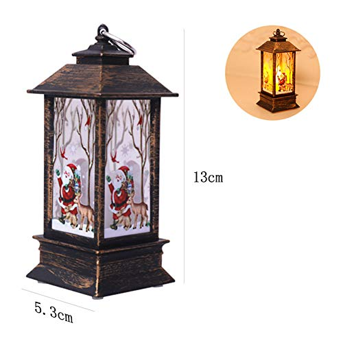 Aoile Christmas Wind Light LED Electronic Candle Table Lamp Night Light Santa Snowman Decoration Desktop Ornament Bronze Santa Claus -
