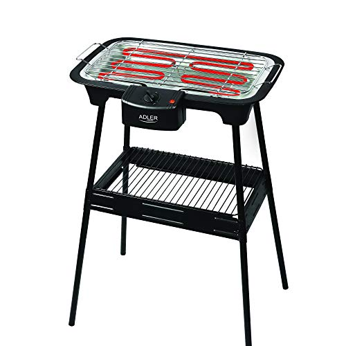 Adl europe il più potente barbecue elettrico sul mercato! 2400w di potenza massima - bbq barbeque grill elettrico griglia piastra elettrica con piedistallo 6602