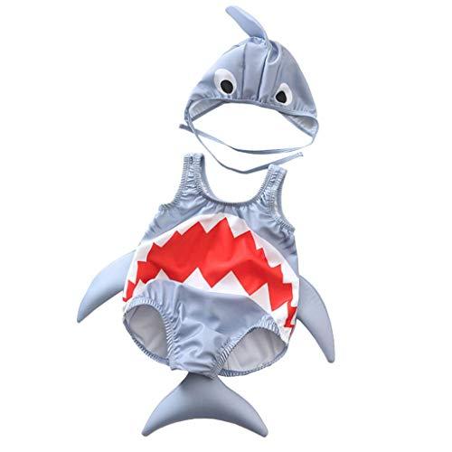 SUNFANY-Badeanzug Bademode Bauchweg Schwimmanzug Tankini Kleinkind Kinder Baby MäDchen Jungen Cartoon Shark Badeanzug Bikini Bademode Badeanzug(Grau,120/3-4 Years)