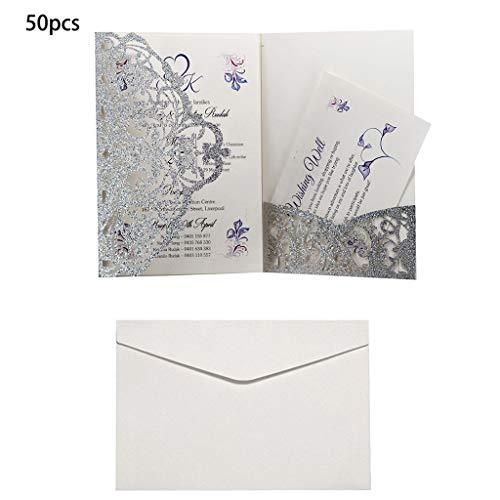 Lazder 50 Hochzeitseinladungskarten mit Umschlägen, Geburtstagskarte, Hochzeit, Dekoration, Partyzubehör 5
