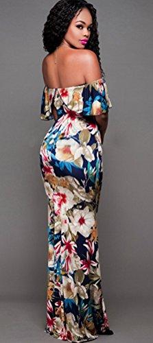 Blansdi Damen Sommer Elegant Schulterfrei Volant Kragen Floral Blumen Gedruckt Lang Maxileid Bodycon Festliches Strandkleid Cocktailkleid Partykleid Abendkleid Beige