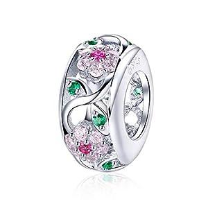 LaMenars Charm-Anhänger Blume im Frühling Sterling-Silber 925 für Pandora, Chamilia und europäische Charm-Armbänder und Halsketten