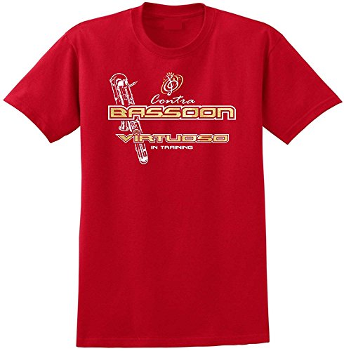 MusicaliTee Contra Bassoon Virtuoso - Red Rot T Shirt Größe 87cm 36in Small