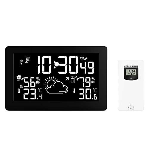Bblank Farbdisplay-Funkwetterstation, Digital-Wetter-Thermometer-Barometer für den Innenbereich