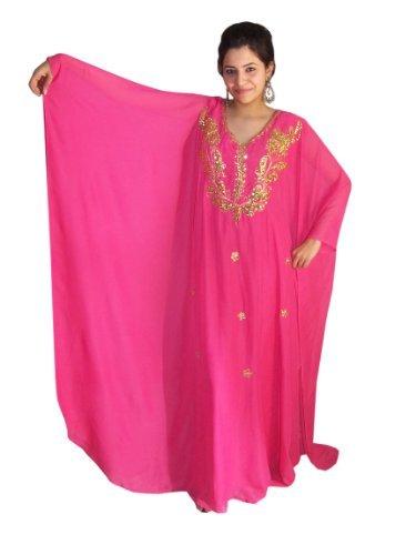 Abaya Festkleid aus Chiffon, Einheitsgröße: M bis XXXL , in verschiedenen Farben (Pink/gold)