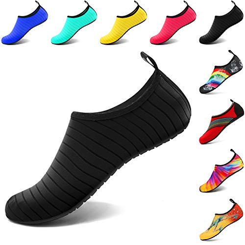 VIFUUR Scarpe da Sport Acquatici Barefoot Quick-Dry Aqua Yoga Slip Slip-on per Uomo Donna Bambino Nero EU 38-39