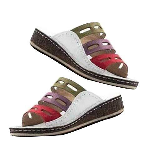yongqxxkj pantofole estive da donna, con cinturini e plateau, taglie forti bianco 90