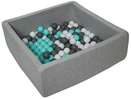 Velinda Piscine a balles pour Enfant, Dimensions: 90x90 cm, Aire de Jeu + 150 balles (Couleurs des balles: Blanc, Gris, Turquoise)