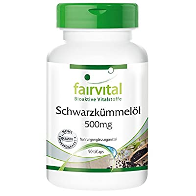 Fairvital - Black Cumin Seed Oil 500mg - Substance in Pure Form - Vegetarian - 90 LiCaps