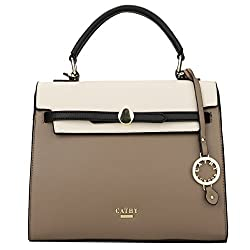 Cathy London Womens Handbag, Material- Synthetic Leather, Colour- Beige/Khaki