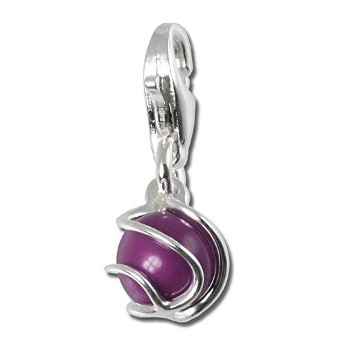 SilberDream Charm 925 Echt Silber Anhänger lila lavendel Kugel Perle FC250P