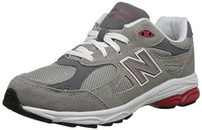 New Balance - unisex-child 990v3 Grade School Running Shoes, Black White, 4 UK Child