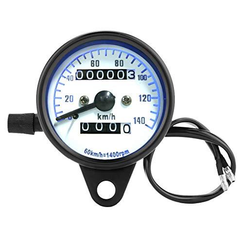 Motorrad Tachometer, DC 12 V Geschwindigkeitsmesser Retro Motorrad Dual Kilometerzähler Tester Miles Geschwindigkeit Meter Gauge