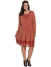 Studio Untold Damen große Größen bis 54   Tunika Kleid   Rundhals, Langarm  mit Manschetten 898d1299ee
