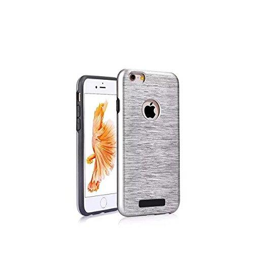 iPhone 6 Hülle,Lantier Rugged Metallic Brushed Texture Slim Fit Schlagfestes Shockproof Heavy Duty Dual Layer Hybrid Defender Schutzhülle für Apple iPhone 6/6S Grau Brushed Texture Grey