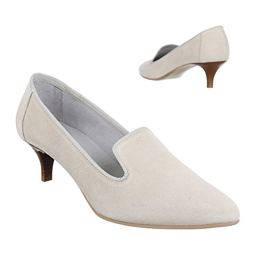 Ital-Design Wildleder Damenschuhe Business Pumps Komfort High Heels Beige