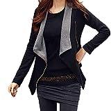 Yvelands Damen Mantel Solide Drape Front Open Zipper Lady Casual Strickjacke Dünne Tops Outcoats(EU-38/XL,Schwarz)